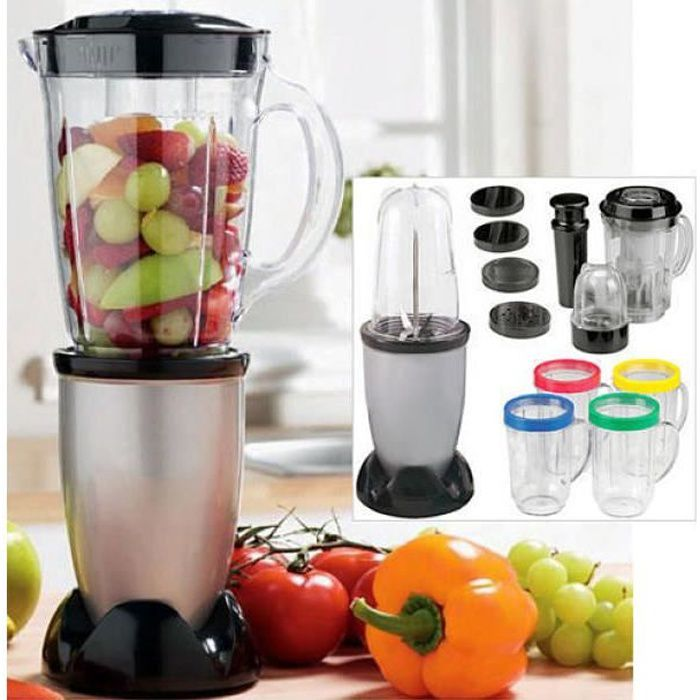 Miracle Bullet one touch robot multifonction, blender, smoothie, centrifugeuse, mixer, broyer....ensemble complets de 21 pièces