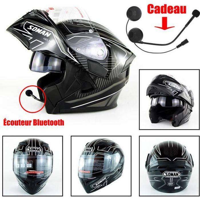 Casque Moto scooter de Marque Racing Armure complète Casque mat Motocross Pleine Couverture Casque Hors-Route et Casque bluetooth