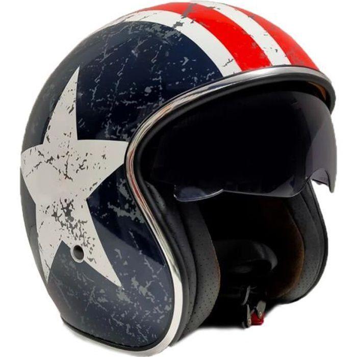 Grands accessoires de scooter CASQUE MOTO JET (Avec lunettes de protection, homologué, doublure amovible) Taille L - STAR VINTAGE