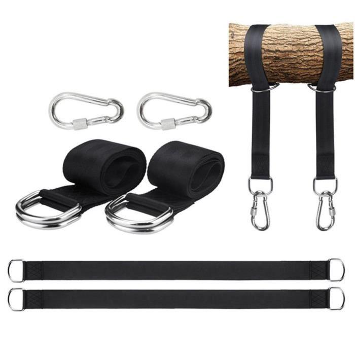 #EXE Kit Fixation Hamac, 120 CM Ultra Résistant aux Sangles Hamac Suspension pour Balancoire de Jardin Hamac Siège Suspendu-Noir