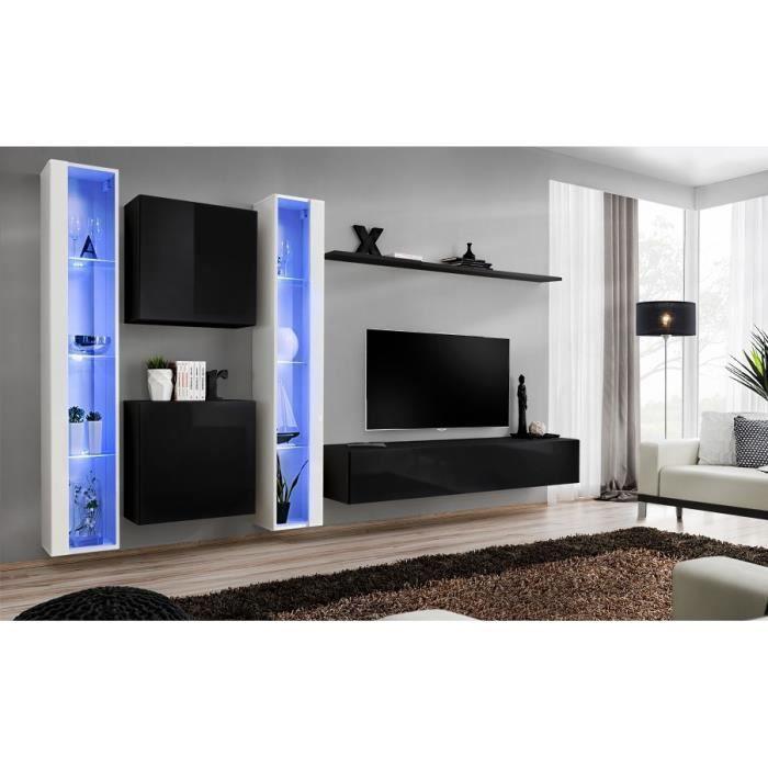 Ensemble meuble salon mural SWITCH XVI design, coloris noir et blanc brillant. 40 Noir