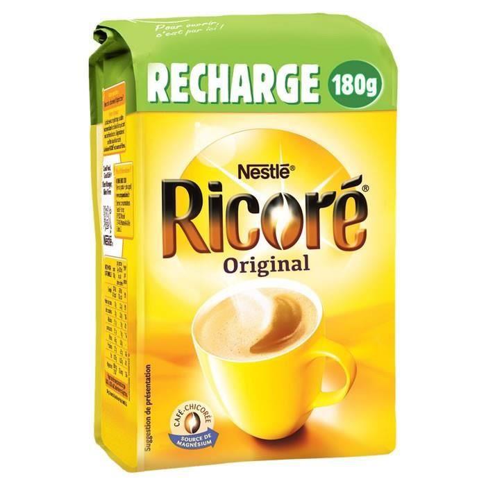 LOT DE 8 - RICORE : Recharge de café à la chicorée soluble 180 g