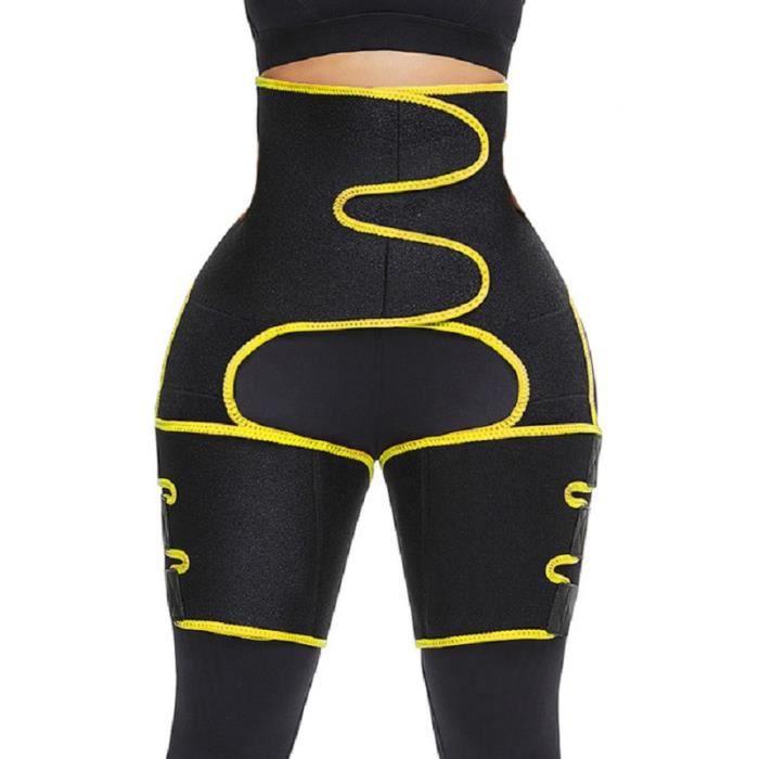Ceinture de Fitness Réglable Jambe Abdominal Fesses Shaper Femme Minceur Amincissante Taille haute JAUNE L