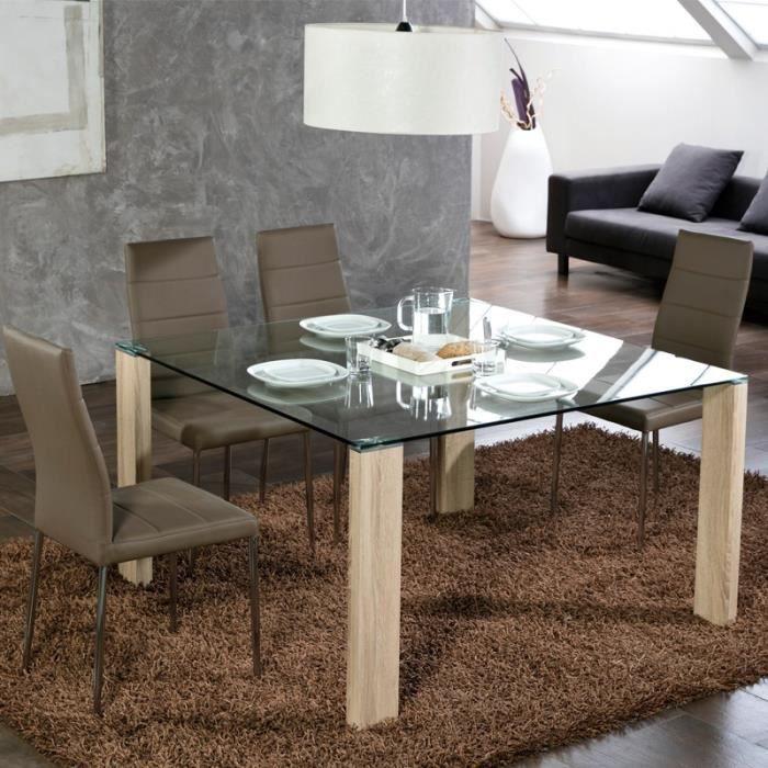 Table de repas Carrée pieds Bois - GRISSAM - L 130 x l 130 x H 75 cm