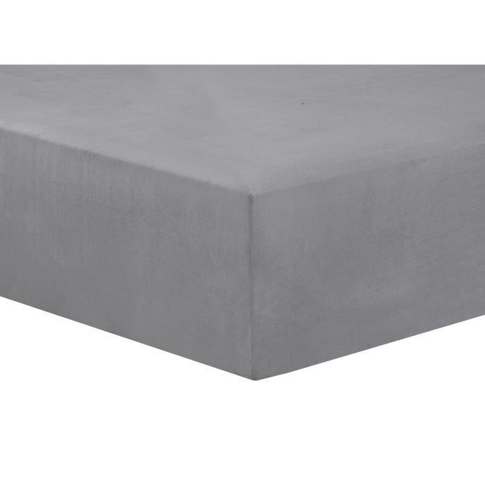 VISION Drap housse Flanelle - 200 x 200 cm - Gris