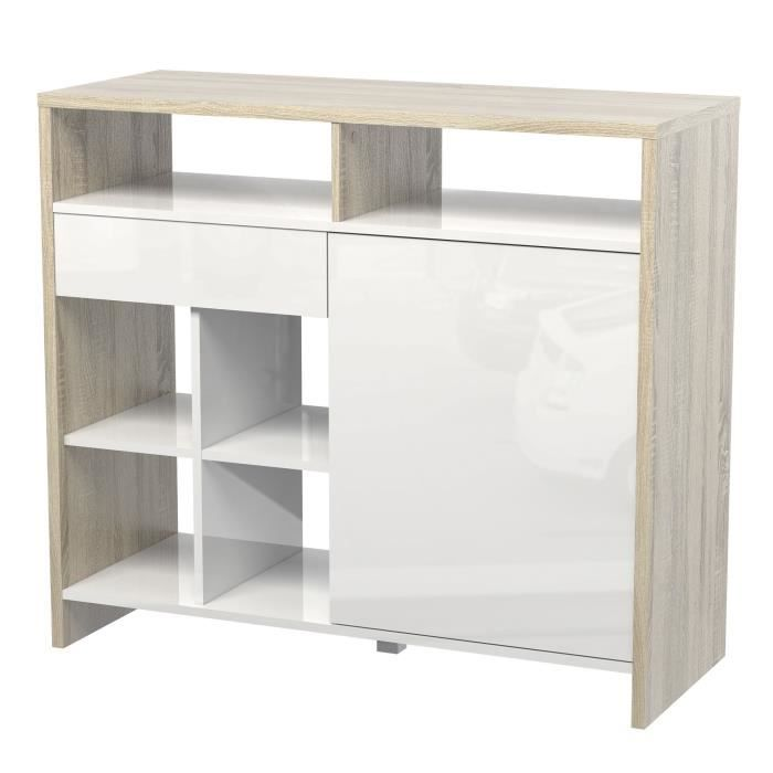 maja snack bar blanc laqu et ch ne achat vente meuble. Black Bedroom Furniture Sets. Home Design Ideas