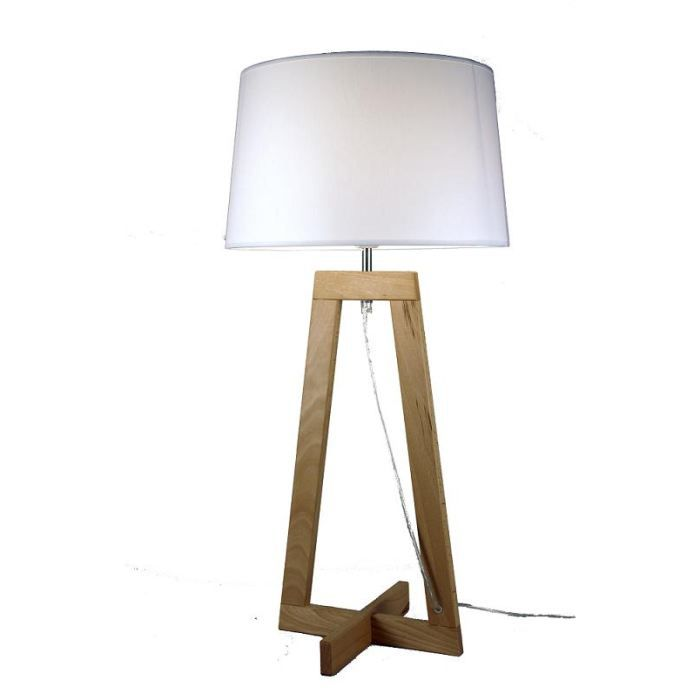 lampe a poser design sacha lt blanc ecru achat vente. Black Bedroom Furniture Sets. Home Design Ideas