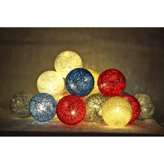guirlande led lumineuse 20 boules cotton gris bleu blanc rouge ivoire achat vente. Black Bedroom Furniture Sets. Home Design Ideas