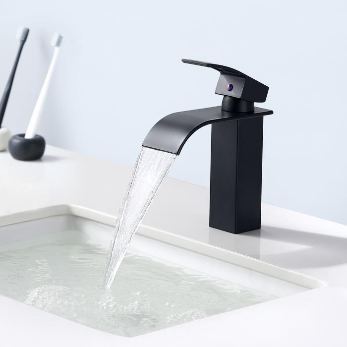Auralum Robinet Lavabo Cascade Noir Moderne Robinet Salle Bain pour Vasque  à Poser Mitigeur Lavabo Carré en Laiton Haut Qualité