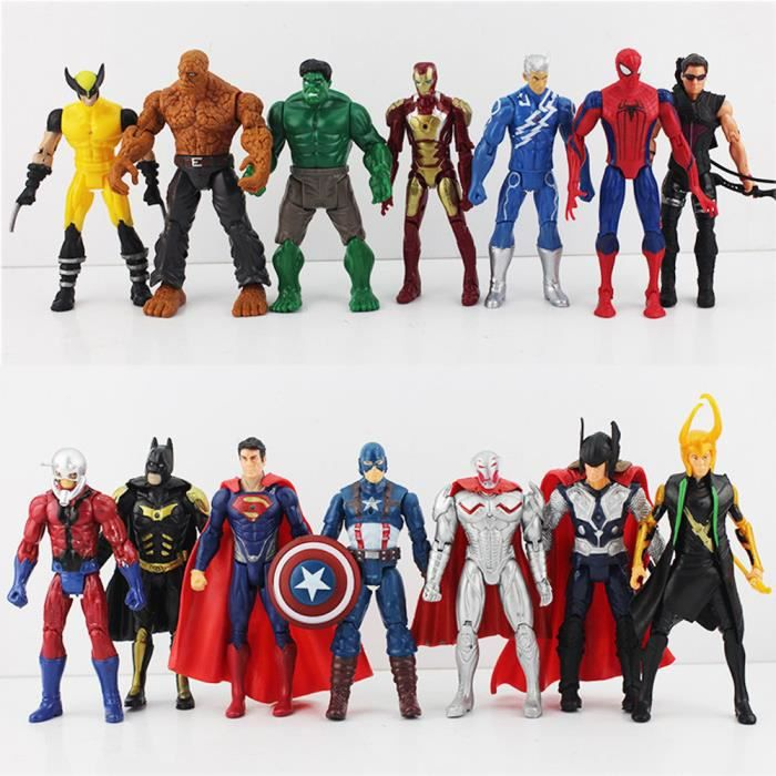 14 pi ces super hero marvel avengers batman spiderman figurines 16cm achat vente figurine. Black Bedroom Furniture Sets. Home Design Ideas