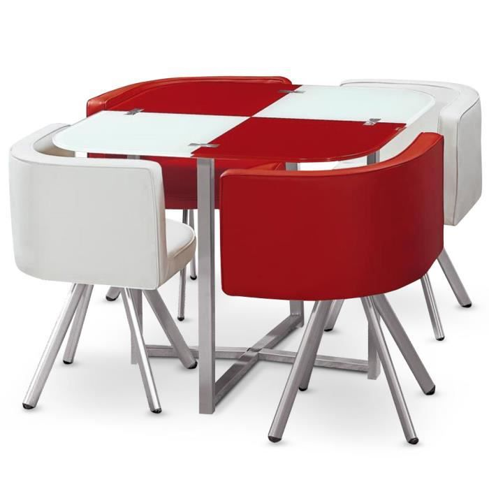 Table et chaises mosaic 90 blanc et rouge achat vente for Table a manger chaise encastrable