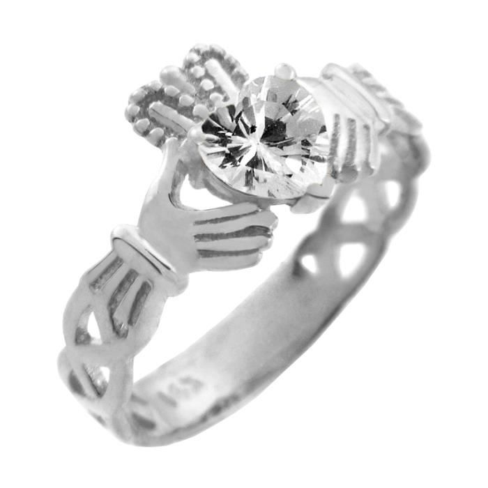 Bague Femme Alliance 10 ct Or Blanc 471/1000 Claddagh TrinitéAvec BlancOxyde de Zirconium Cœur