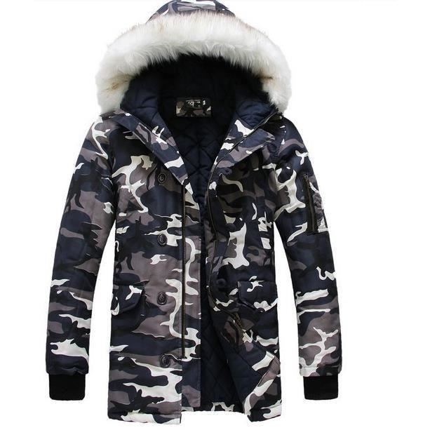 2016 veste d 39 hiver pour mens parka mode pour hommes cool camouflage grand collier design longue. Black Bedroom Furniture Sets. Home Design Ideas