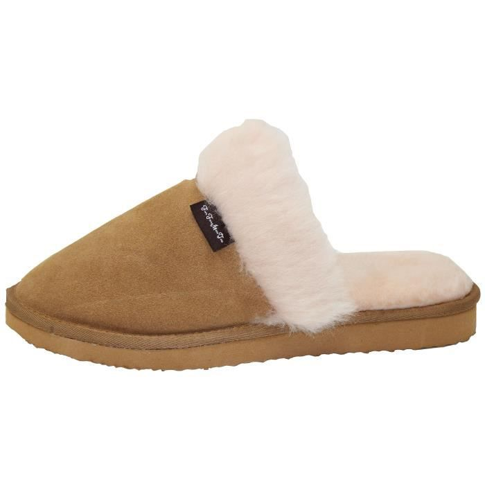 Genuine Australian Sheepskin Slippers Sheepskin Sheep Wool With Cowhide Leather Slippers Super Thick PLIZB Taille-44 1-2