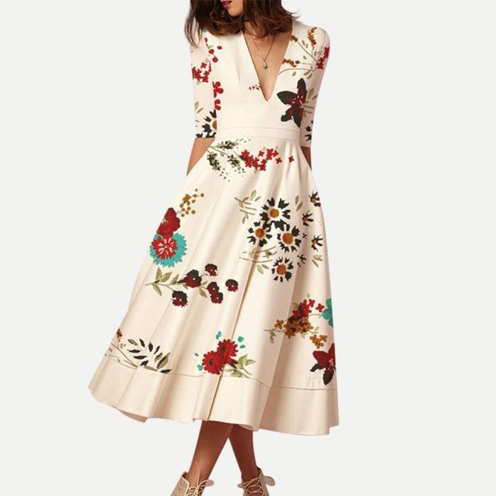 Femmes Robe D Ete Femmes Imprimer Elegant Col En V Manches Mi Longues Robes Club Robe Blanc Achat Vente Robe Cdiscount