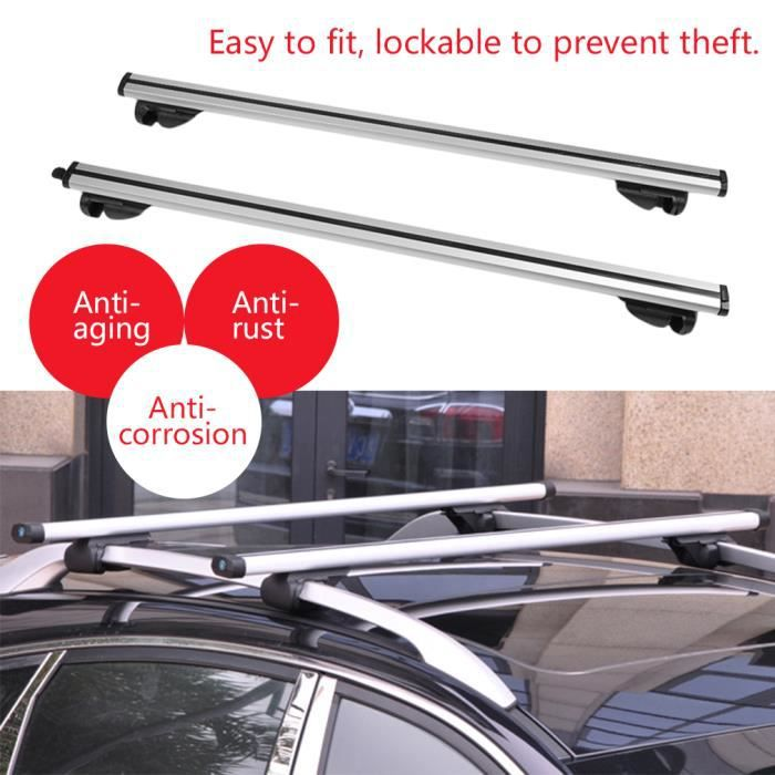 Antivol verrouillable Barres de toit de voiture Durable avec des rails Rack Locking Bar