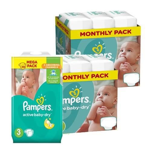 COUCHE 406 Couches Pampers Active Baby Dry taille 3