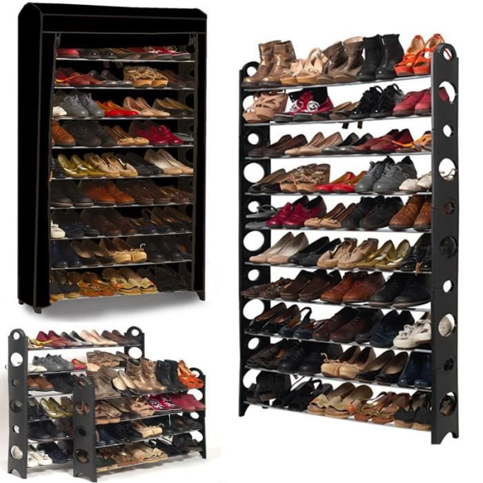 Etagere Range Chaussures 50 Paires Modulable Housse Noire Achat Vente Meuble A Chaussures Etagere Range Chaussures 50 Cdiscount