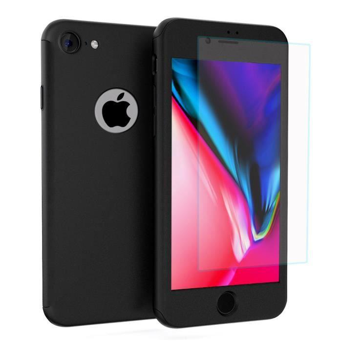 Protection Complète 360° iPhone Coque Avant +Arrière +Verre Trempé X//7//7+//8//8+