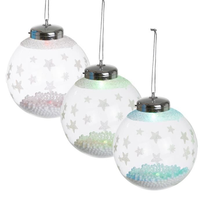 lot de 3 boules led en verre transparent avec flocons de neige 10cm achat vente boule de. Black Bedroom Furniture Sets. Home Design Ideas