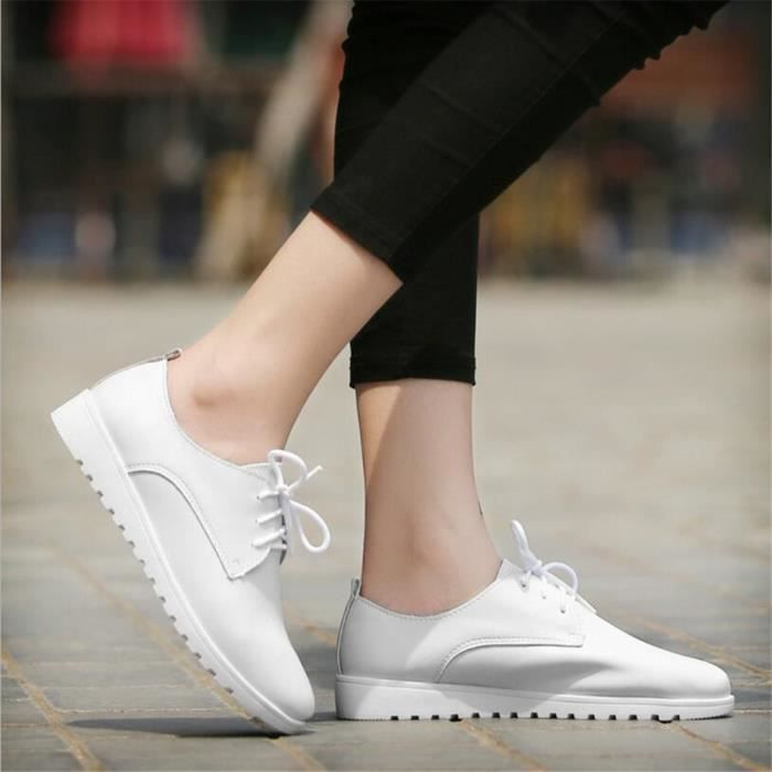 Chaussure Cuir Chaussures XZ042Blanc40 Occasionnelles Comfortable BWYS Femmes TR11wqz