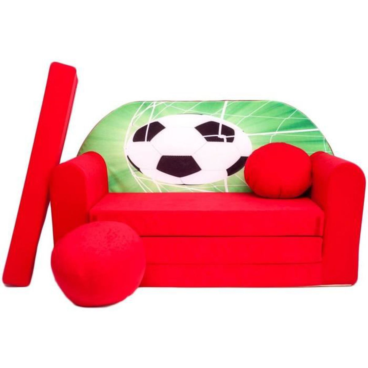 canape sofa enfant 2 places convertible rouge football. Black Bedroom Furniture Sets. Home Design Ideas