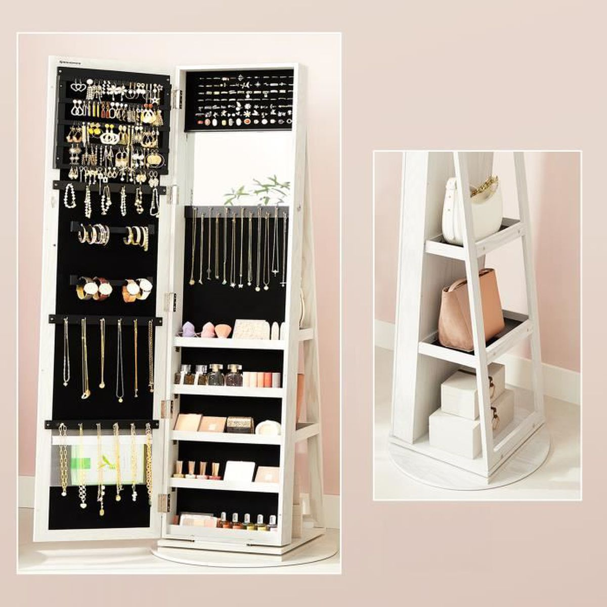meuble bijoux armoire bijoux miroir psych avec serrure et etag res pivotante 360 blanc. Black Bedroom Furniture Sets. Home Design Ideas