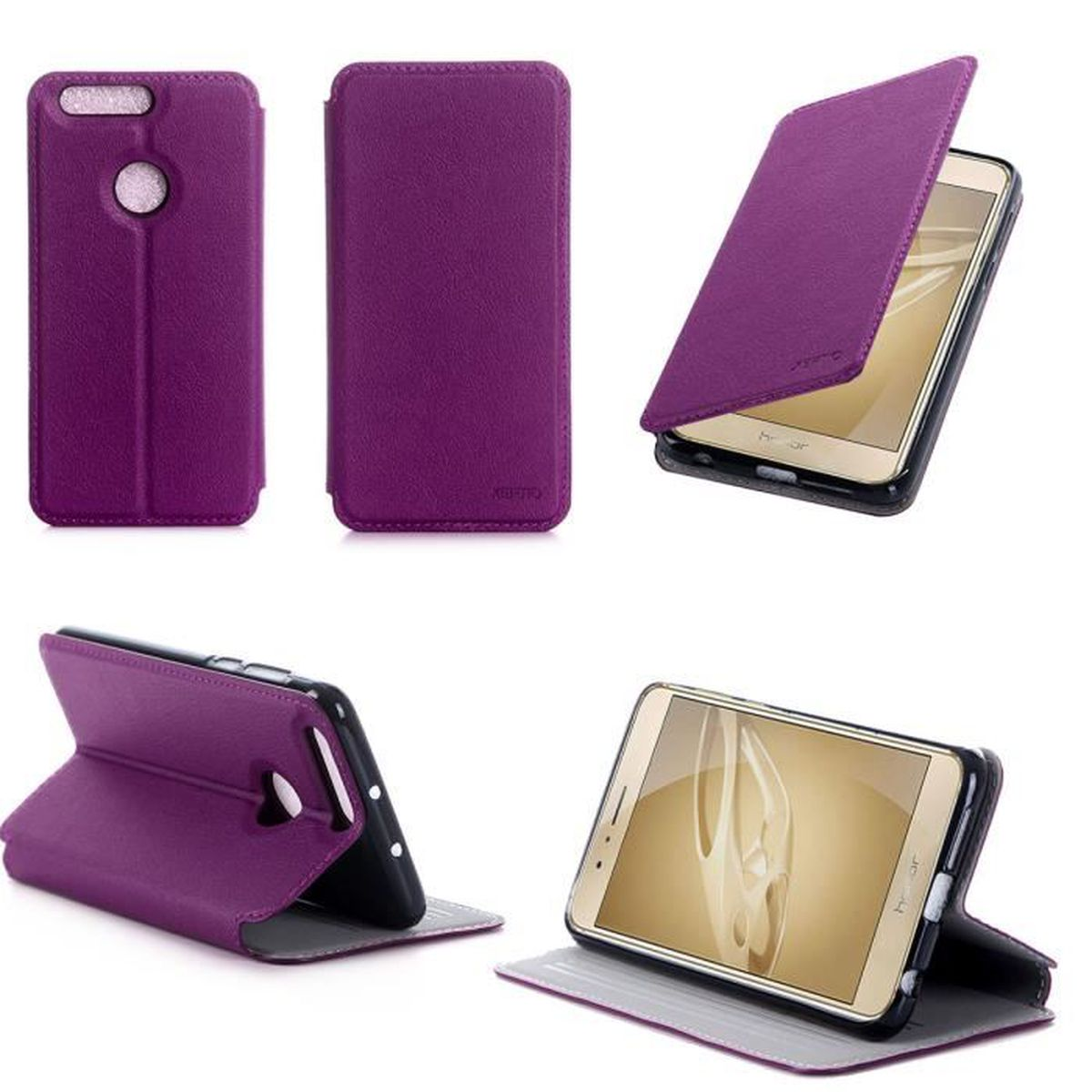Etui coque huawei honor 8 4g violet housse pochette for Housse honor 8