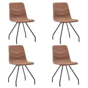CHAISE Chaises de salle à manger 4 pcs Marron Similicuir
