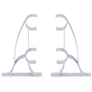 RIDEAU 2pcs en aluminium double rideau de tringle de fixa