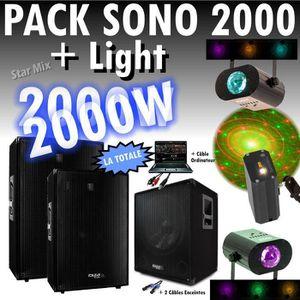 PACK SONO SONO PACK 2000W CUBE1512 + 3 JEUX DE LUMIERES PA D