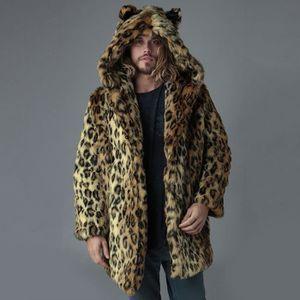 en fourrure PardessusBrun manteau Hommes Leopard fausse capuchon chaud Mode Veste épais Manteau Outwear à fYg7b6y