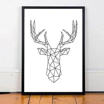 Simple Géométrique Antlers Imprimer Art Peinture Sans Cadre Chambre Decor Wall Picture 21x30cm