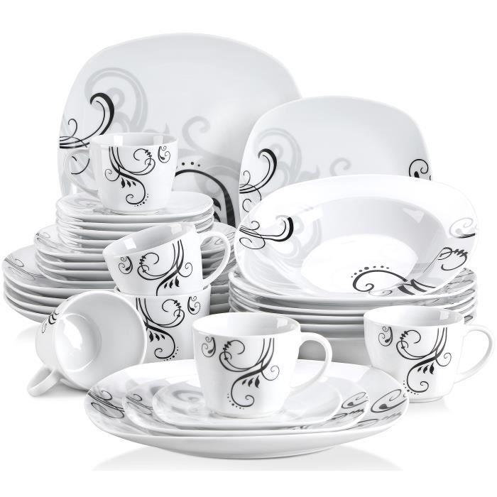 Veweet ZOEY 30pcs Service de Table Porcelaine 6pcs pour Assiette Plate, Assiette à Dessert, Assiette Creuse, Tasse et Soucoupes