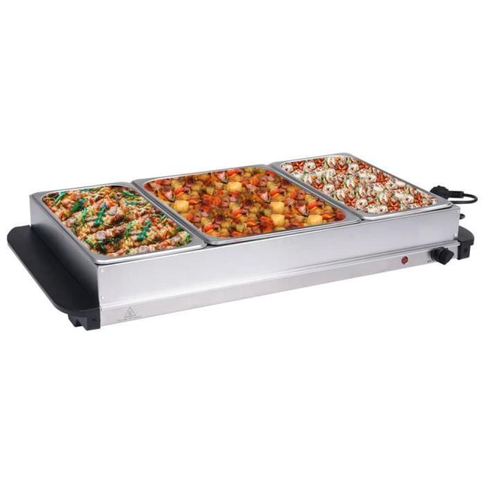 Deco1044Ergonomique - CHAUFFE-PLAT ELECTRIQUE - Serveur buffet Acier inoxydable Style Contemporain - Chafing Dish Acier inoxydable 4