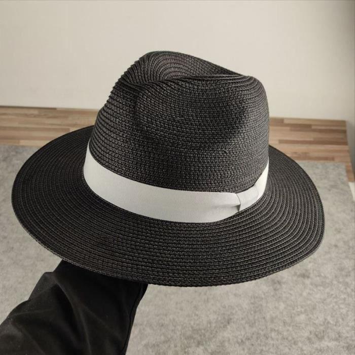 black adjustment 55-58cm -Chapeau de paille surdimensionné pour hommes, casquette de plage, panama, grande taille, 55 58cm, 59 60cm,