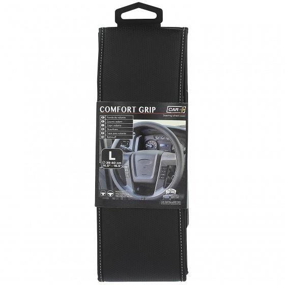 Car Plus couvre-volant Comfort Grip Vent uni cuir synthétique noir / blanc 39-40 cm