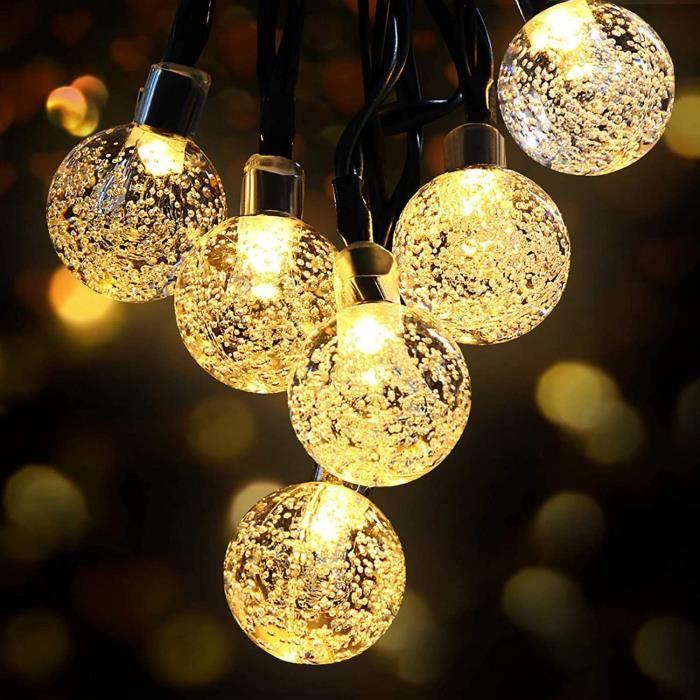 guirlande solaire exterieur Guirlande Lumineuse Solaire, OMERIL Fairy Lights 50 LED Cristal Boules IP65 Etanche, Connecteur USB E507