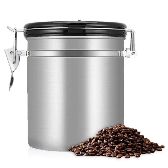 Zerone Conteneur de café La boîte métallique hermétique de stockage de récipient de grains de café de l'acier inoxydable 1.5L