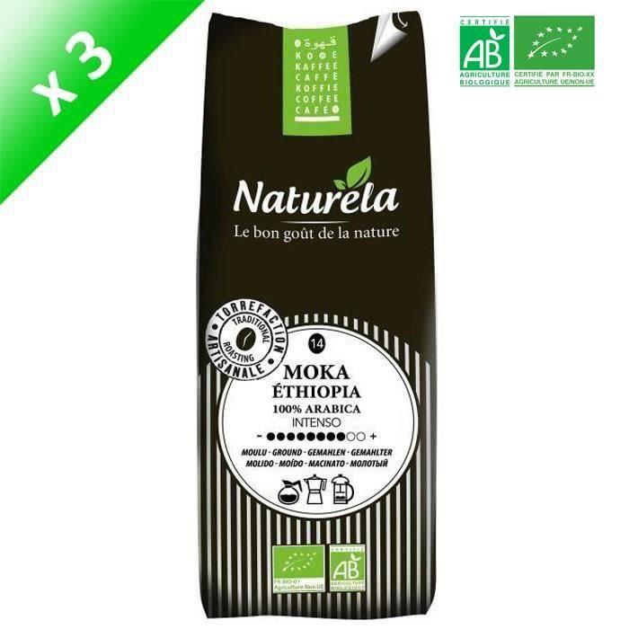 [LOT DE 3] Naturela -250g- Café Moka Ethiopia 100% Arabica Moulu n° 14 Bio