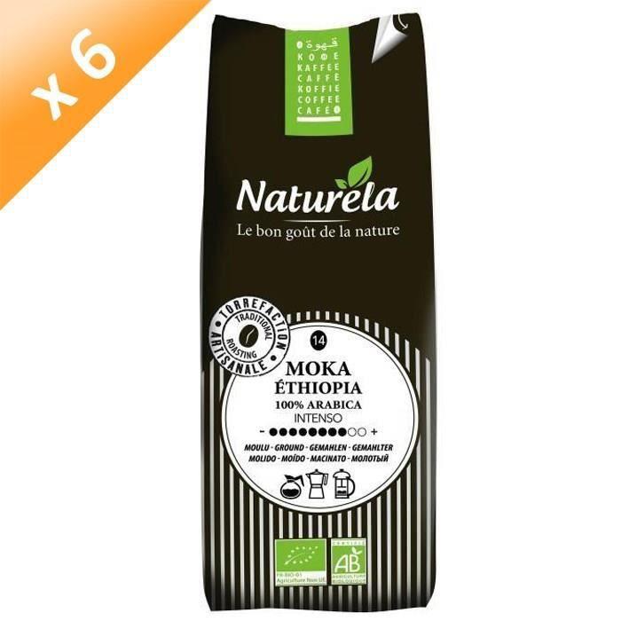 [LOT DE 6] Naturela -250g- Café Moka Ethiopia 100% Arabica Moulu n° 14 Bio