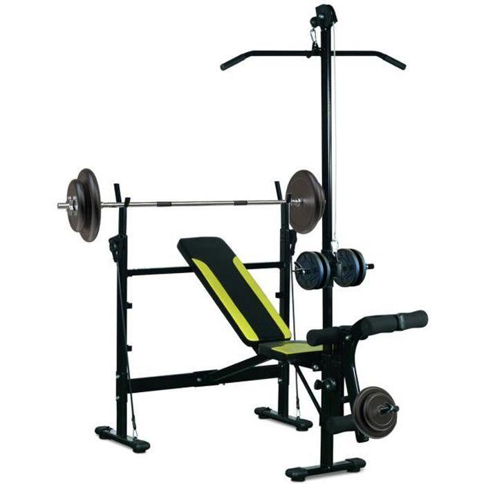 Banc de musculation Fitness entrainement complet dossier réglable cordes traction curler supports barre et haltères noir et jaune...