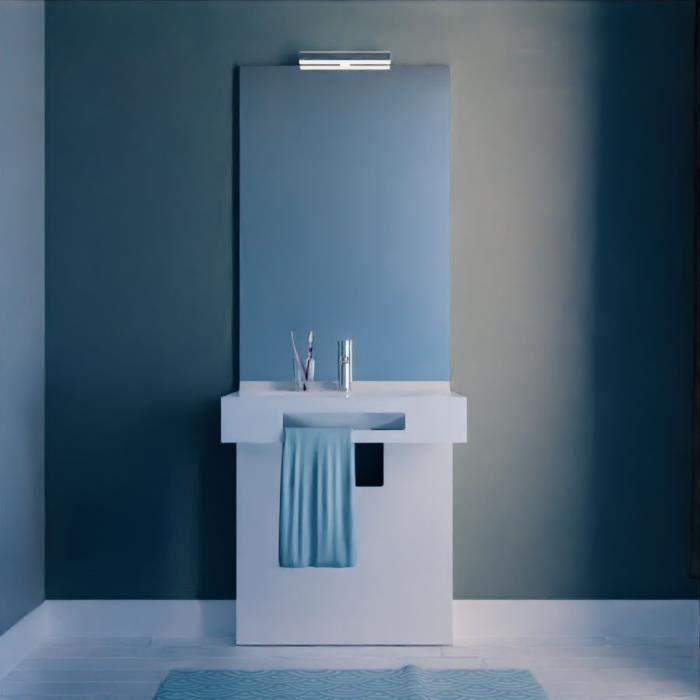 Meuble LEA 70 cm avec plan vasque, miroir - blanc brillant