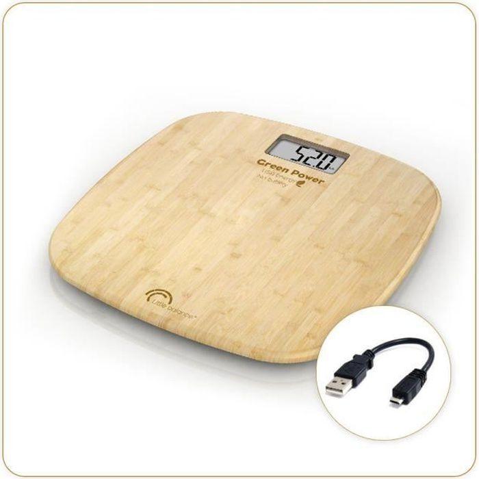 LITTLE BALANCE - Pèse-personne bambou USB soft 180 kg / 100 g