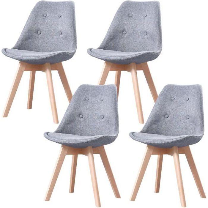 SHERYL - Lot de 4 chaises capitoné scandinave - Tissu - Gris Clair - pieds en bois massif design - 57 x 49 x 83 cm