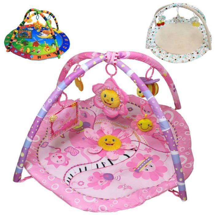 Tapis d'éveil bébé éducatif et musical + jouets - Flower