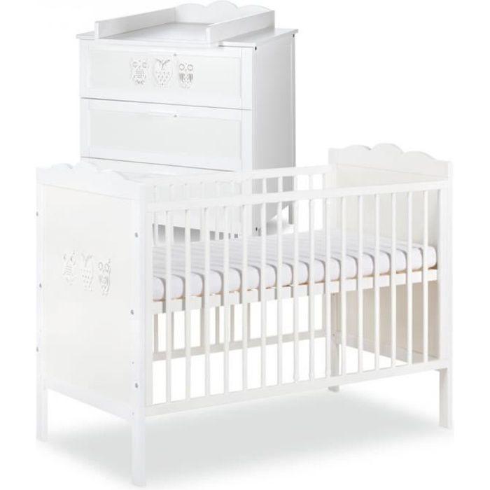 chambre complete bebe MARSELL Ensemble commode à langer + lit bébé 120X60