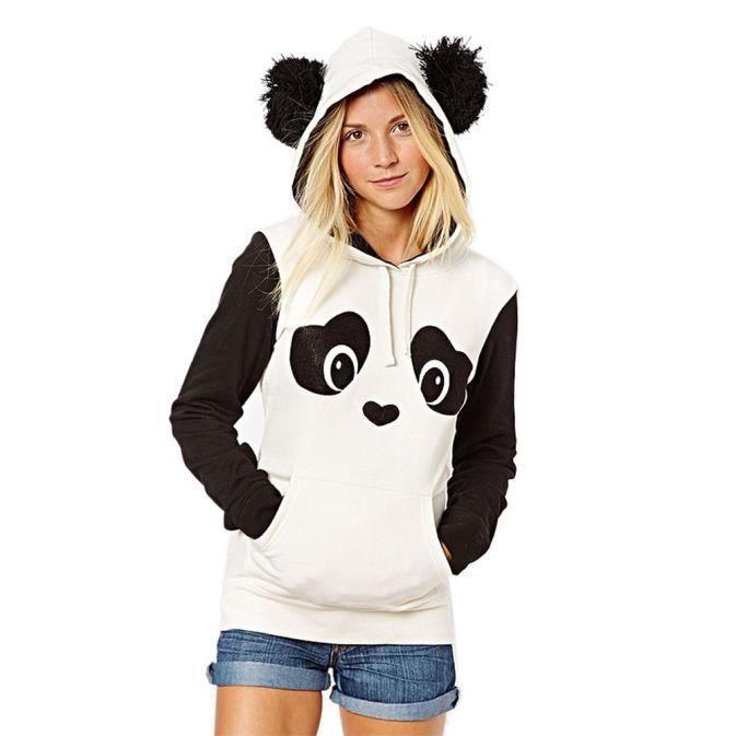Chandail Chemisier Sweat à capuche avec poche Panda pour femme cd1346