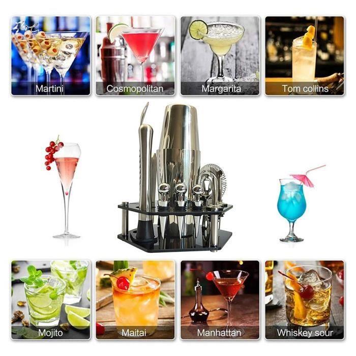 Cocktail Set avec Shaker 14 Pièces en Acier Inoxidable Cocktail de Barman - Kit Shaker Cocktails Professionnel avec Accessoires