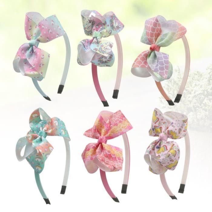 6pcs licorne cerceau arc-noeud bande de tissu bandeau adorable accessoire de pour enfants filles (8 + CASQUE AUDIO ENFANT